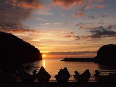 忍路漁港の夕陽 Setting sun at Oshoro fish port