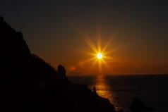 祝津パノラマ展望台の夕陽 Setting sun at the Shukutsu Panorama Observatory