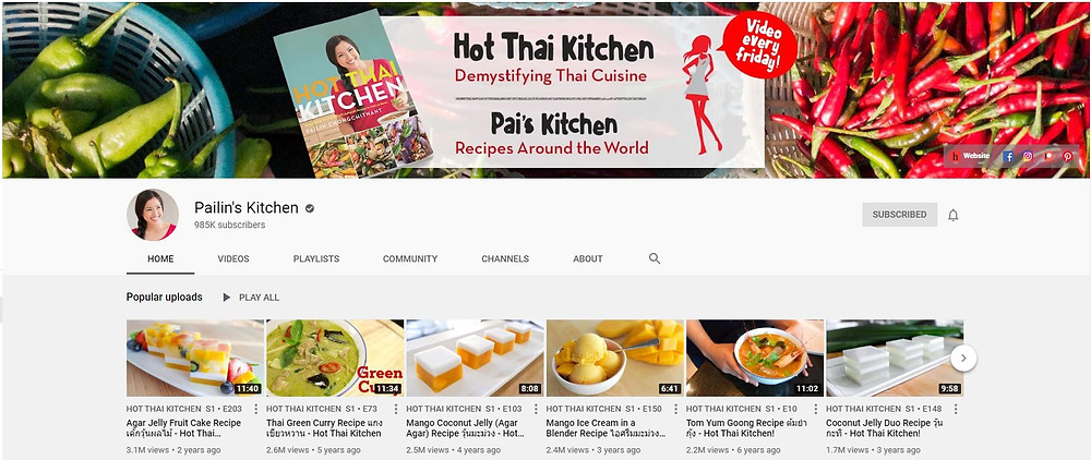 Pailin's Kitchen Youtube Channel