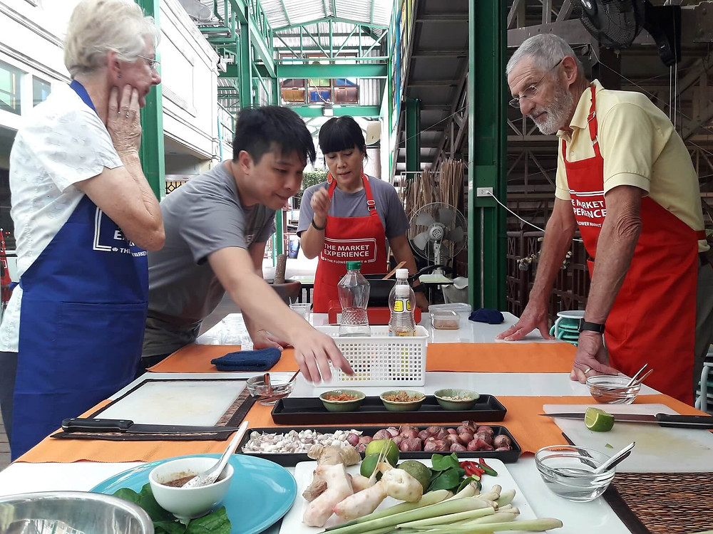 Thai Cooking With a Twist cooking class at The Market Experience at Pak Khlong Talat flower market in Bangkok, Thailand - photo by The Market Experience