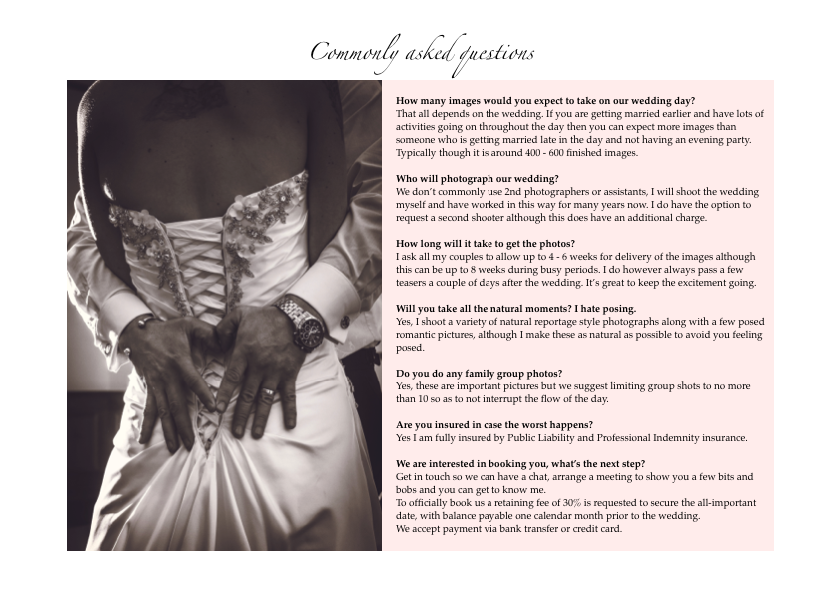 Page 7 of AWPhotographics Brochure detailing packages and prices