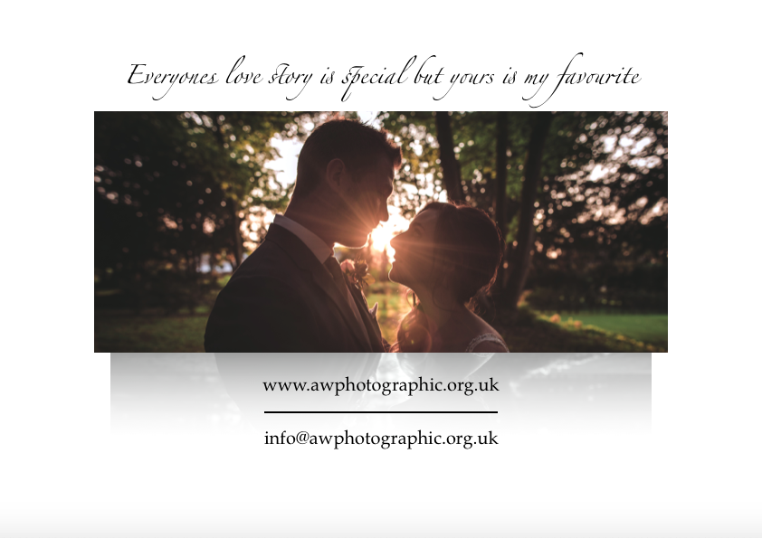 Page 8 of AWPhotographics Brochure detailing packages and prices