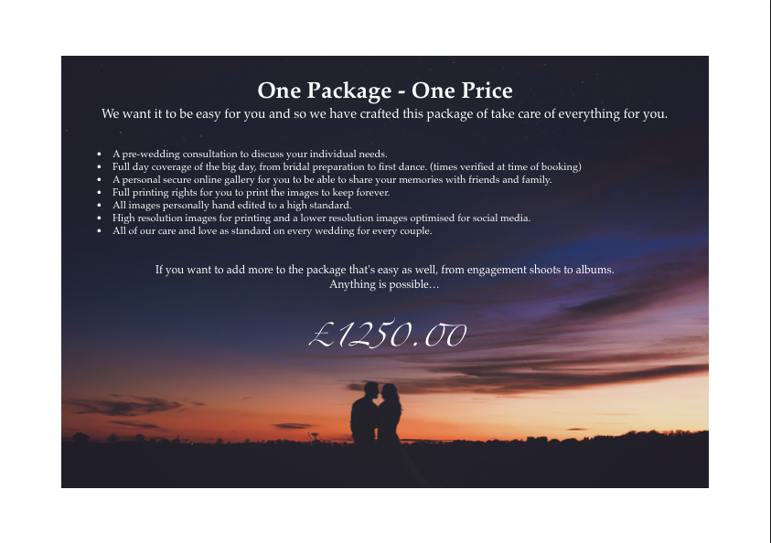 Page 5 of AWPhotographics Brochure detailing packages and prices