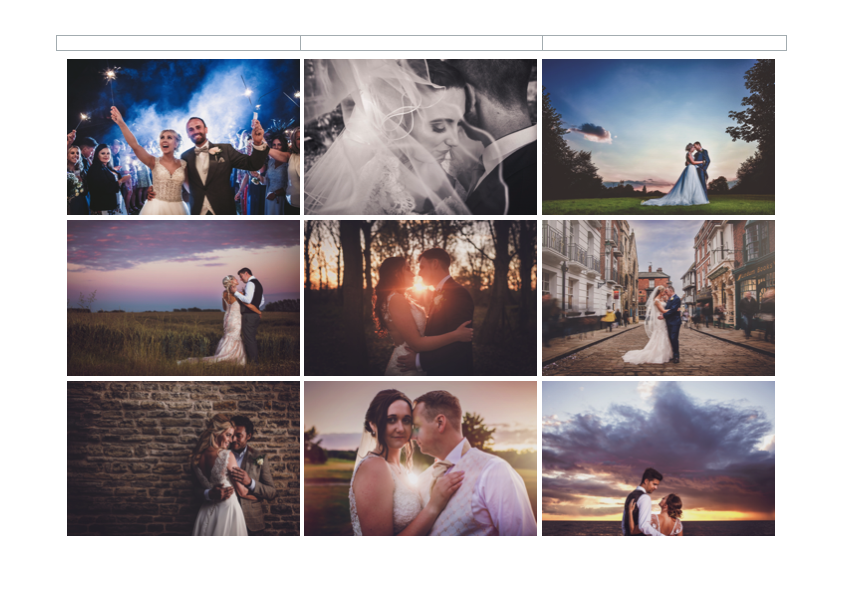 Page 2 of AWPhotographics Brochure detailing packages and prices
