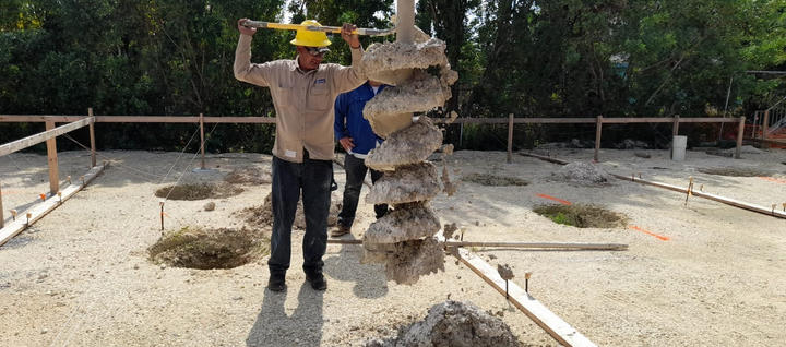 """Augering area for 18"""" diameter concrete toreceive 10"""" timber poles. . . . #CaymanIslands #Timber #TimberPoles #WellnessGarden #SevenMileBeach #PalmHeights #RobsonConstruction #BuildingProcces #Footing #CaymanContractor #WorkSite #ConstructionLife #Drilling #NewConstruction #ConstructionProject #Augering"""