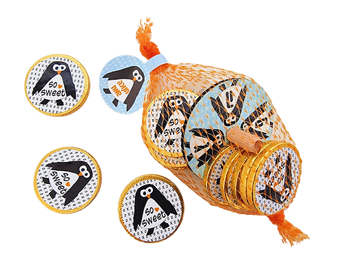 סביבון ומטבעות שוקולד- פינגווין ברשת