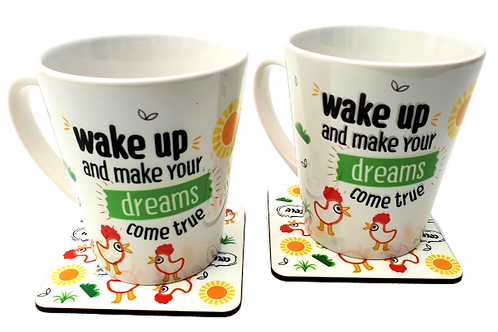 Wake up and make your dreams come true- מארז ספלים ותחתיות זוגי/יחיד