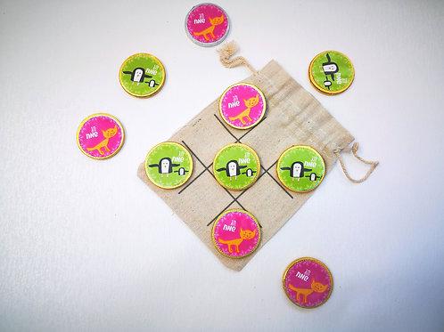 משחק איקס עיגול עם מטבעות שוקולד