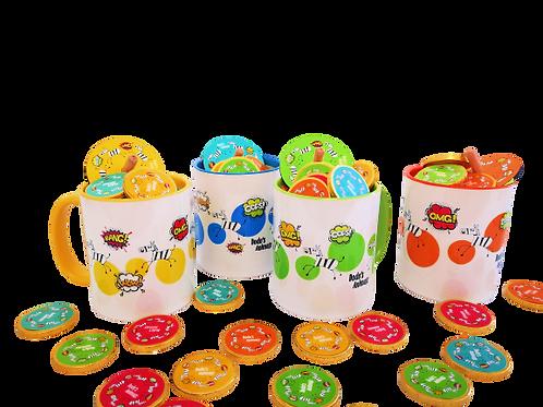 ספלי קומיקס עם מטבעות שוקולד וסביבון - מסדרת חנוקומיקס