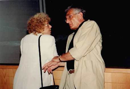 As Minister of Culture Shulamit Aloni doubled the government's support for the arts. (In the photo: with Yossi Frost who headed the Culture Administration when she served as Minister. He is the initiator of the Shulamit Aloni Prize).