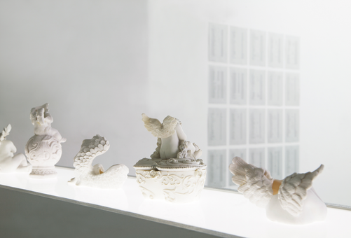 Engel (Angel) installation 6 cherubs, wood, plexiglass, fluorescent tube, 135  x 120 x 25 cm 2012