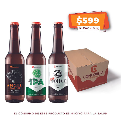 12 pack mix: 4 Concordia Session IPA, 4 Concordia Dry Stout, 4 Ángel Caído