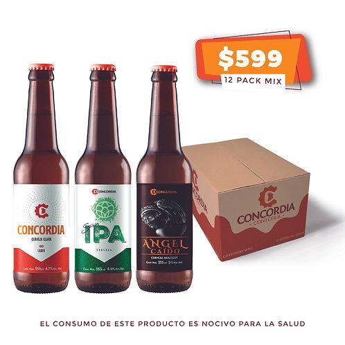 12 pack mix: 4 Concordia Lager Clara, 4 Concordia Session IPA, 4 Ángel Caído