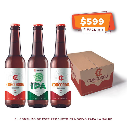 12 pack mix: 4 Concordia Lager Clara, 4 Concordia Lager Obscura, 4 Session IPA