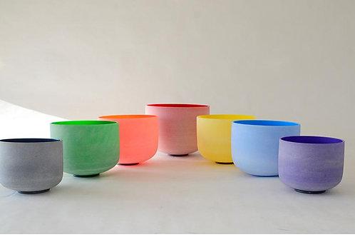 Singing Bowl, Chakra Set of 7 Bowls Colored Frosted Crystal Singing Bowl