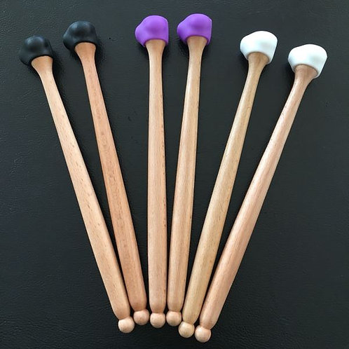 """3 in 1"" Steel drum/Handpan mallets w/ 3 different hardness rubber tips"