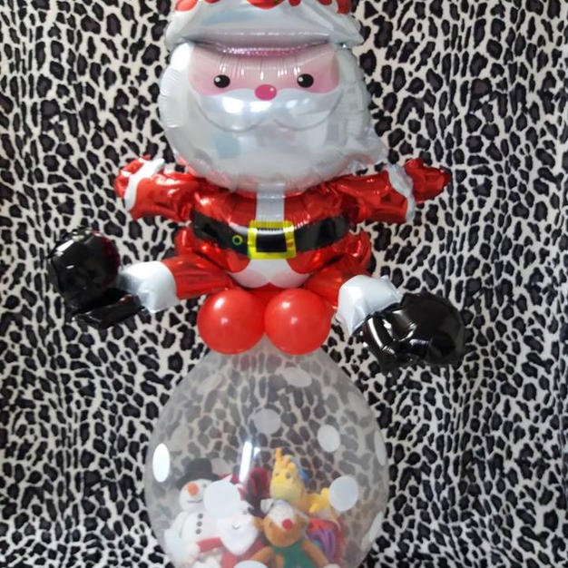 santa topped stuffed gift balloon from £15 (gifts not inclu