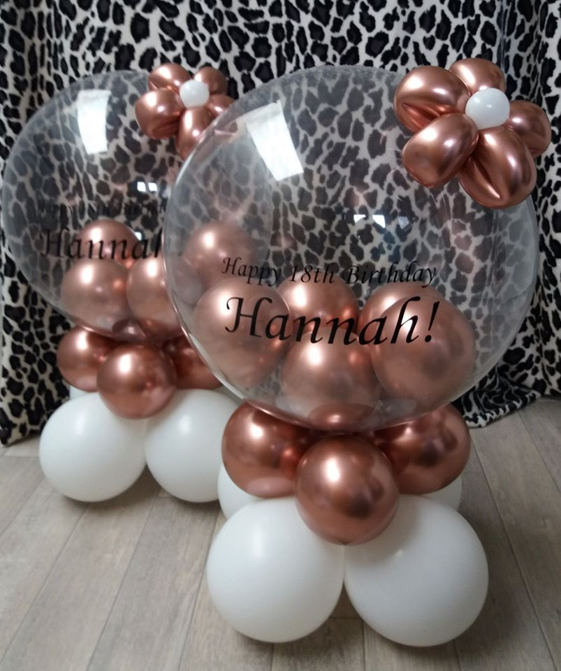"20"" personalised chrome bubble with flower £15"