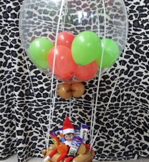elf hot air balloon with chocolates £20 (own elf) elf £4 extra