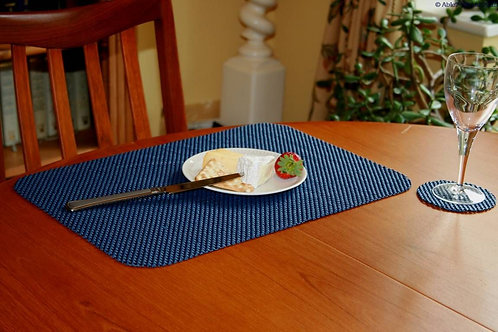 StayPut Non-Slip Fabric Tablemat (x6) and Coaster (x6) Set - Indigo Blue