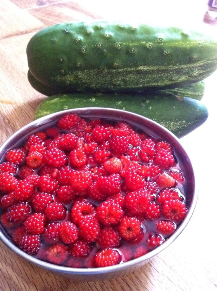 Rasberry and cucumber
