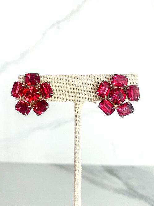 Emerald-cut Ruby Crystal Flower Studs