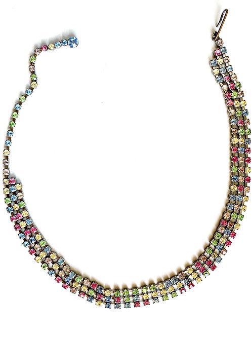 Pastel Crystal Choker-Wrap Bracelet