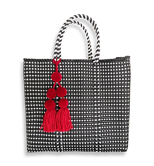 Mercado Bag in Black & White Gingham check (Pom Pom sold separately)
