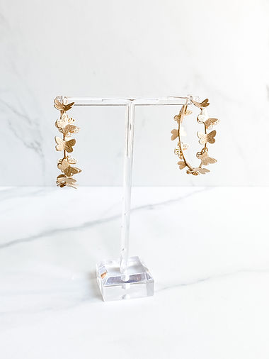 matte gold butterfly hoops lightweight earrings