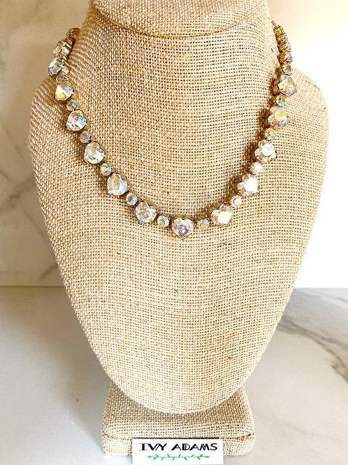 Heart Aurora Borealis Crystal Necklace