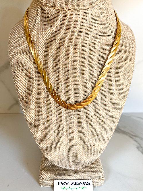 Braided Herringbone Necklace, Thin