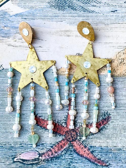 Mermaid Star Earring in Beaded Bronze