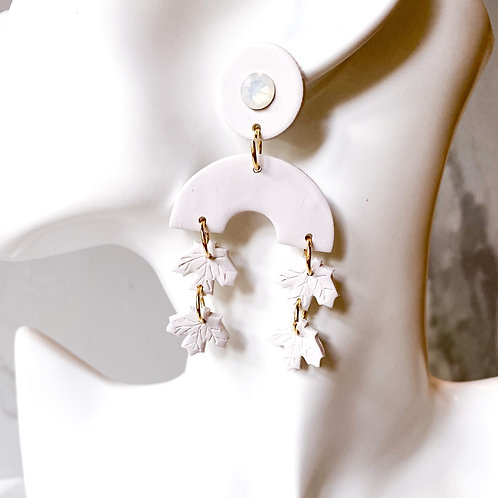 Fallen Leaf Clay Statement Earrings  (White)