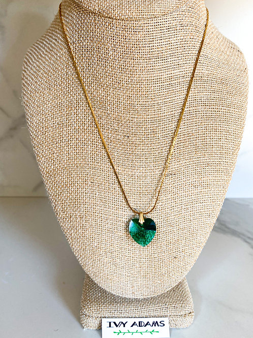 Green Crystal Heart Pendant Necklace