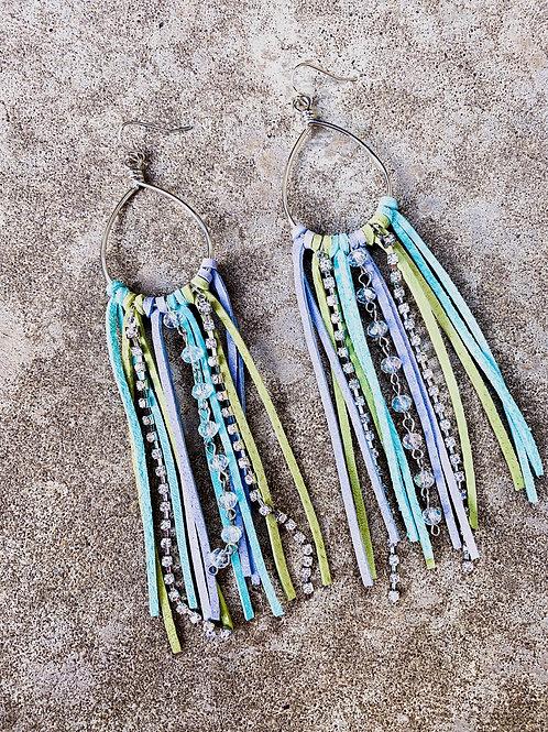 Woodstock Mermaid Leather Crystal Tassel Earrings