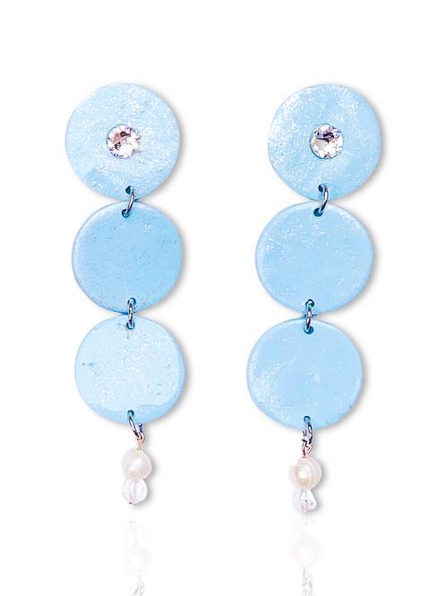 Bikini Blue with Pearl 3 Dot Drops