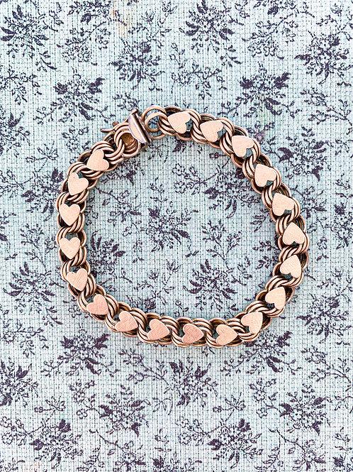 Triple Link Heart Gold-Filled Bracelet