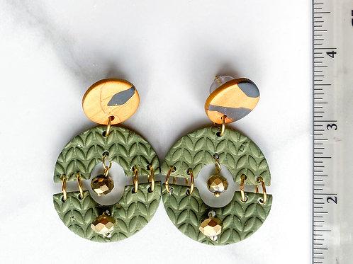 Alma Hoop Earrings (Olive Print)
