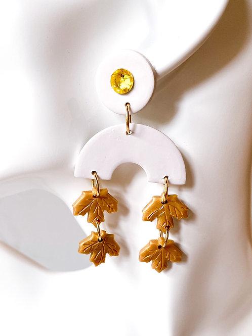 Fallen Leaf Clay Statement Earrings (Golden)
