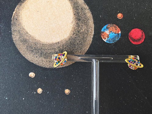 Tiny Saturn Studs in Rainbow Crystal