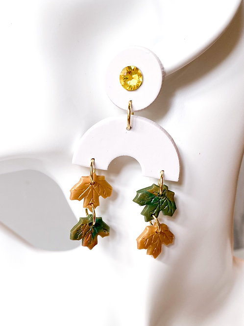 Fallen Leaf Clay Statement Earrings  (Green + Gold)