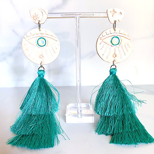 Evil Eye Tassel Shoulder Duster Earrings