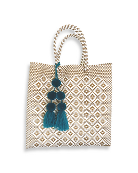 Mercado Bag in Rombo Gold & White (Pom Pom sold separately)