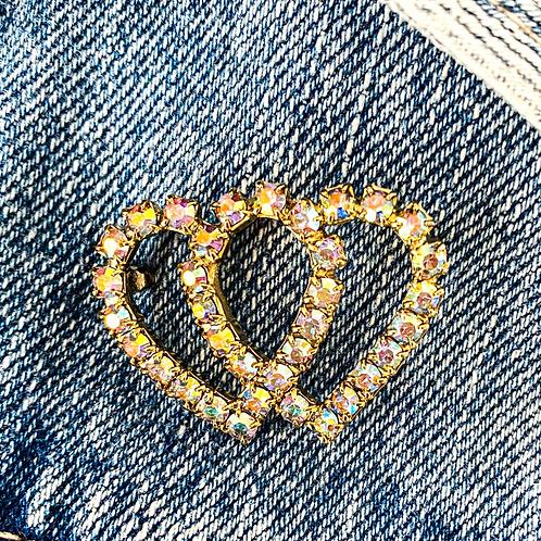 Interlocking Hearts in AB Crystal