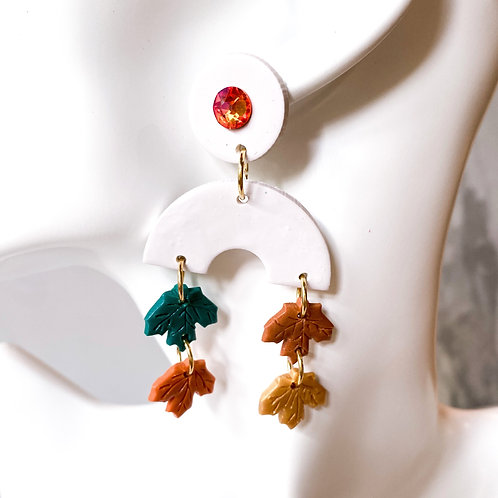 Fallen Leaf Clay Statment Earrings (Orange)