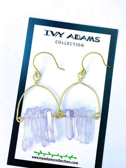 Lavender Crystal Quartz Wire Wrapped Chandelier Earring