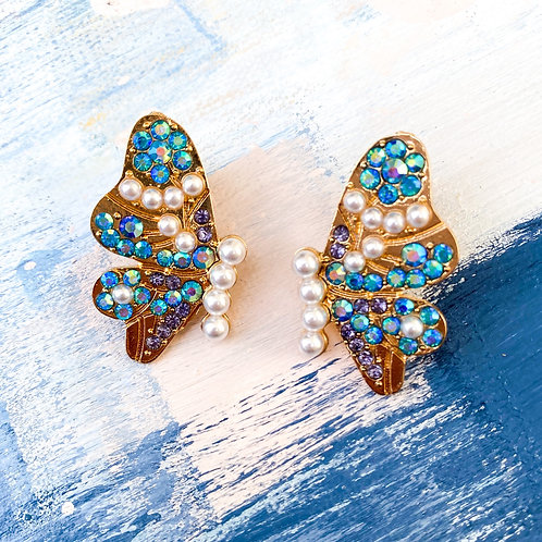 """Papillon en Couleur"" Butterfly Statement Studs in Multi AB Crystal"