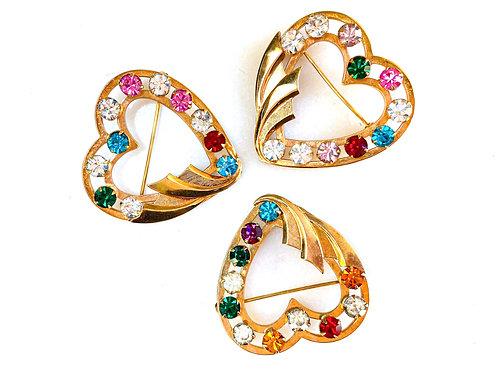 Gold-Filled Multi-color Crystal Heart Brooch