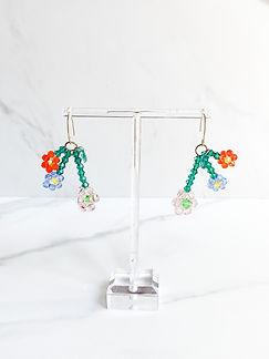 Crystal bicone dainty floral drop earrings 3 flowers