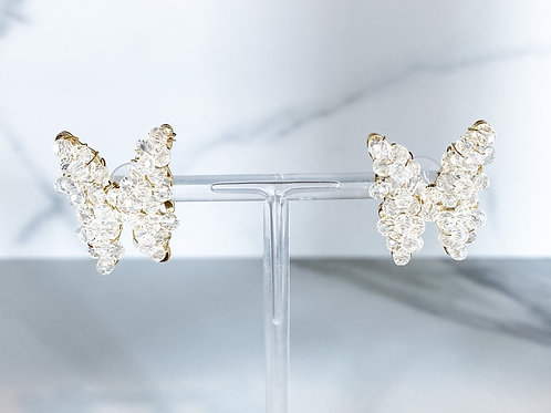 """""""Papillon en Claire"""" Clear Crystal Butterfly Studs"""